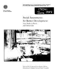 Social Assessments for Better Development - Social Assessment, LLC