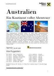 Programm Australienreise - Raiffeisenbank Korneuburg