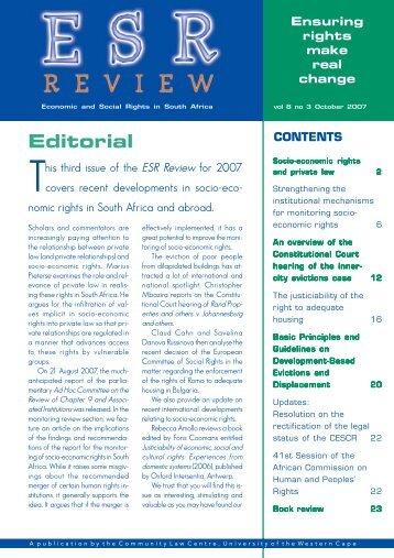 ESR Review Volume 8 No 3 - October 2007 - Community Law Centre
