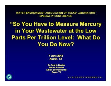 """So You Have to Measure Mercury in Your Wastewater at the Low ..."