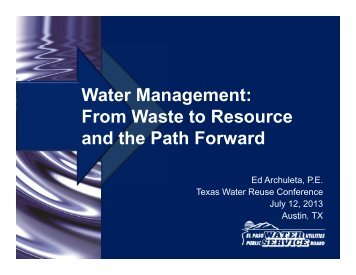 Water Management: From Waste to Resource and the Path Forward