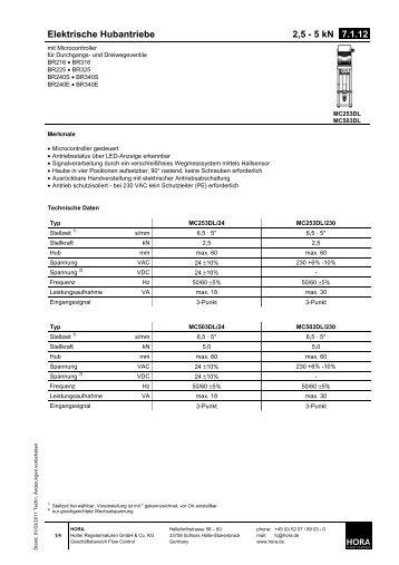 Elektrische Hubantriebe 2,5 - 5 kN 7.1.12. - HORA