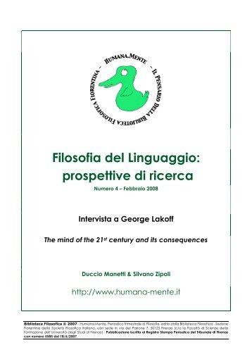 Filosofia del Linguaggio: prospettive di ricerca - Humana.Mente