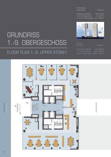 GRUNDRISS 1.-9. OBERGESCHOSS