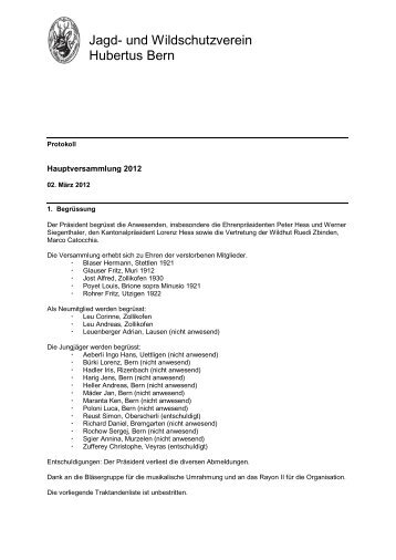 Protokoll HV 2012 - Hubertus Bern