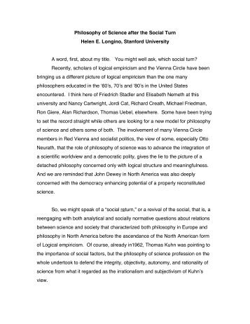 Philosophy of Science after the Social Turn Helen E. Longino ...