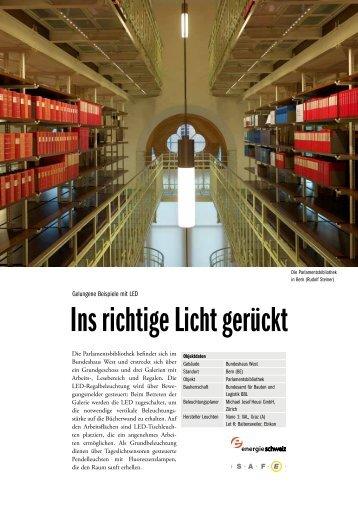 Gute Beispiele mit LED - Parlamentbibliothek Bern (BE) - Safe