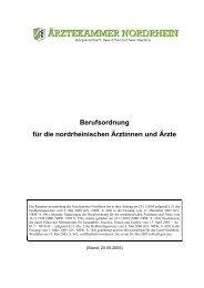 Berufsordnung für die nordrheinischen Ärztinnen und Ärzte