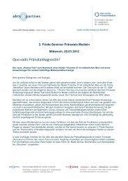 Einladung 2. Förde-Seminar Pränatale Diagnostik - abts + partner