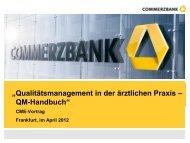 """""""Qualitätsmanagement in der ärztlichen Praxis – QM-Handbuch"""""""