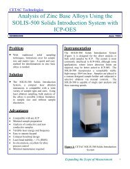 Analysis of Zinc Base Alloys Using the SOLIS-500 Solids ...