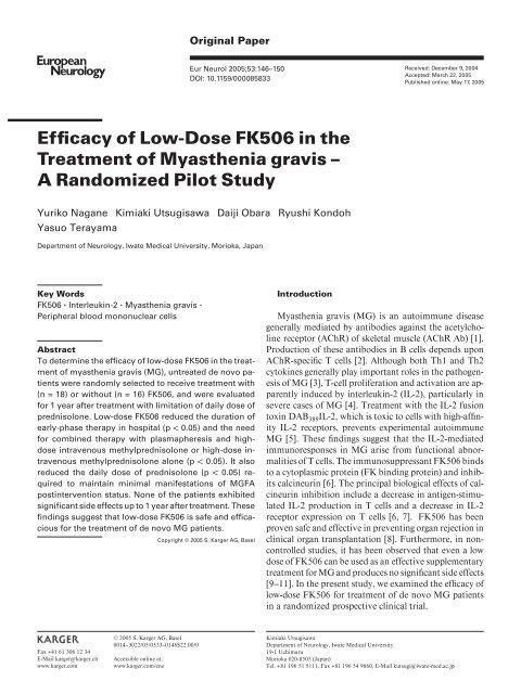 Efficacy of Low-Dose FK506 in the Treatment of Myasthenia gravis ...