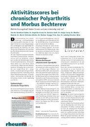 Aktivitätsscores bei chronischer Polyarthritis und Morbus Bechterew