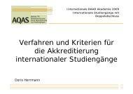 Verfahren und Kriterien für die Akkredetierung internationaler ...