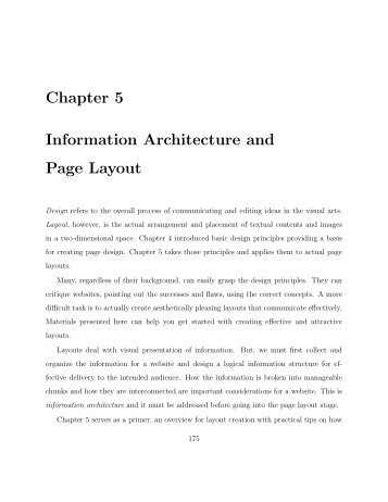 Chapter 5 Information Architecture and Page Layout