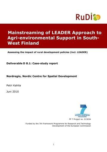 Case-study Finland - RuDI