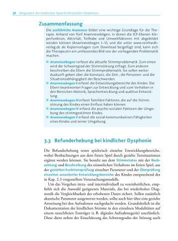 3.3 Befunderhebung bei kindlicher Dysphonie Zusammenfassung