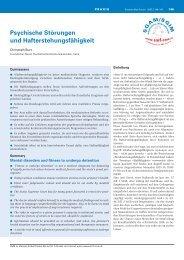 Psychische Störungen und Hafterstehungsfähigkeit - Swiss Medical ...