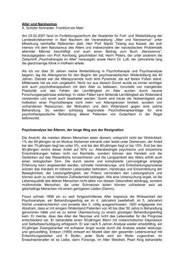 Alter und Narzissmus A. Schüler-Schneider, Frankfurt am ... - Agpt.de