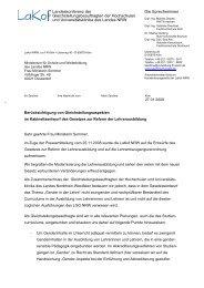 Schreiben der LaKof NRW an das Schulministerium