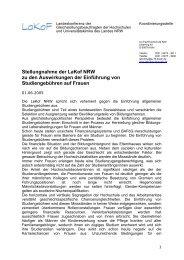 Stellungnahme der LaKof NRW zu den Auswirkungen der ...