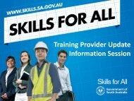 Training Provider Updates - Skills for All - SA.Gov.au