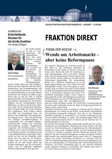 Fraktion direkt - Ausgabe 7 vom 02. Juni 2006