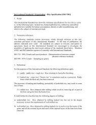 International Standards' Organization – Rice Specification [ISO 7301]