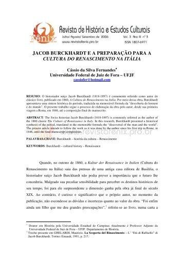 jacob burckhardt ea preparação para a cultura do renascimento na ...