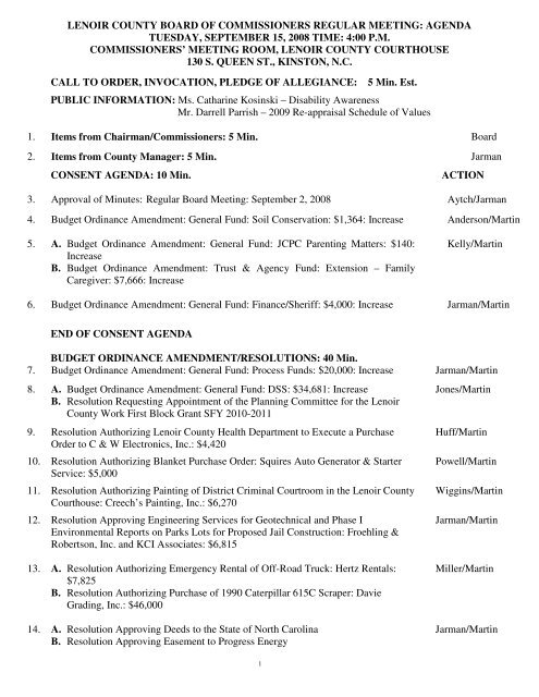 lenoir county board of commissioners regular meeting: agenda