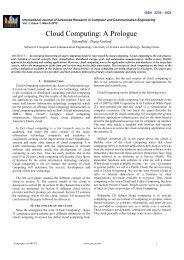Cloud Computing: A Prologue - Ijarcce.com
