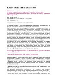 Extrait BO n° 31 du 27 août 09 sur les stages - IUFM