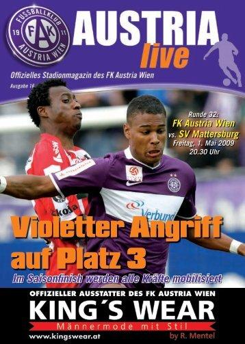 Violetter Angriff auf Platz 3 - FK Austria Wien