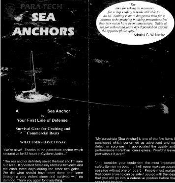 Para Tech Sea Anchor Parachute Brochure - Fuji Yachts Website