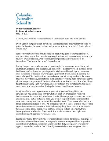 Dean Nicholas Lemann's graduation address - Columbia University ...