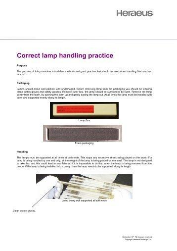 Correct lamp handling practice - Heraeus Noblelight