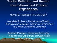 Traffic Pollution and Health: International and Ontario Experiences