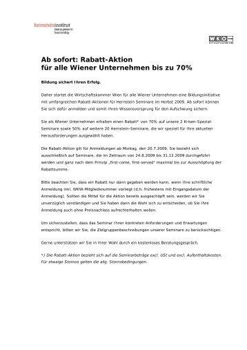 Ab sofort: Rabatt-Aktion für alle Wiener Unternehmen bis zu 70%