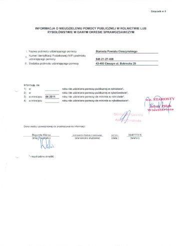 pomoc de minimis - czerwiec 2011 r.