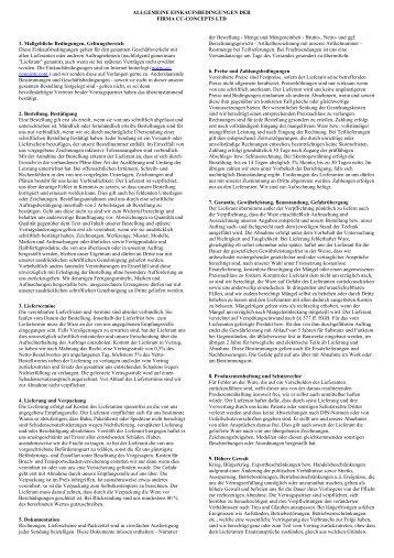 1. Maßgebliche Bedingungen, Geltungsbereich ... - CC Concepts Ltd.