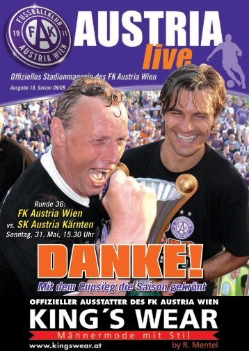 Mit dem Cupsieg die Saison gekrönt - FK Austria Wien