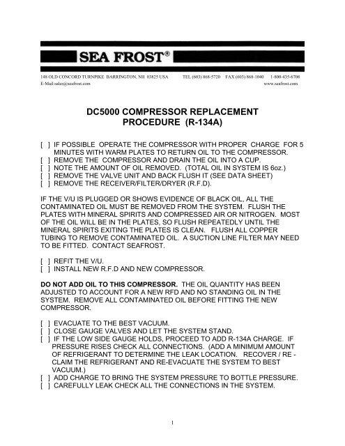 Dc5000 Compressor Replacement Procedure Sea Frost