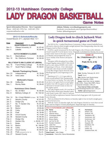 2012-13 Lady dragon BasketBaLL game notes - Hutchinson ...