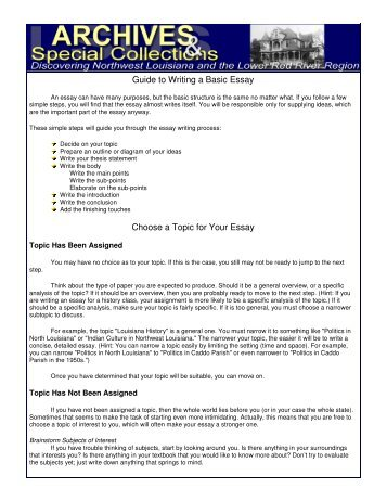 choosing and refining topics writing csu colorado state  guide to writing a basic essay choose a topic for your essay