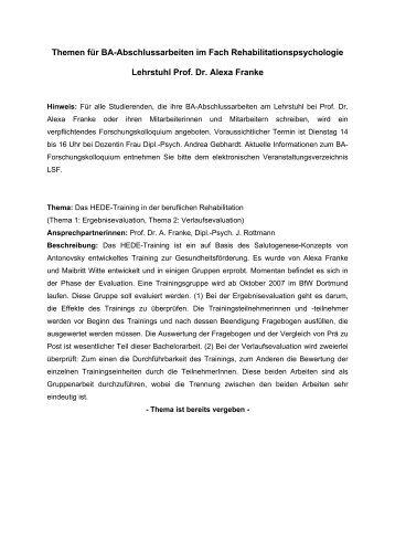 Themen für Bachelorarbeiten im Fach Rehabilitationspsychologie