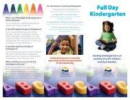 Kindergarten Brochure - Beairsto Elementary School