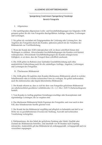 AGB Fotografie Allgemeine Liefer- und ... - Spangenberg