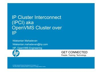 IP Cluster Interconnect (IPCI) aka OpenVMS Cluster over IP