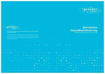 Betriebliche Gesundheitsförderung - Gsünder Basel