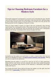 Tips to Choosing Bedroom Furniture for a Modern Style